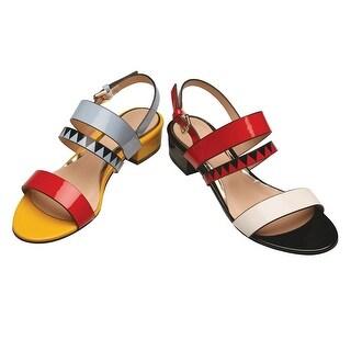 Women's Sling Back Sandals - Op-Art Color Block Patent Leather