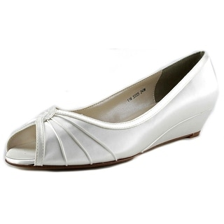Touch Ups Honey Women W Open Toe Canvas White Wedge Heel