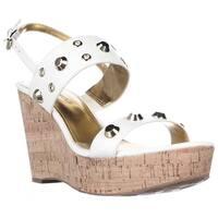Ivanka Trump Gitty Platform Studded Wedge Sandals, White Leather
