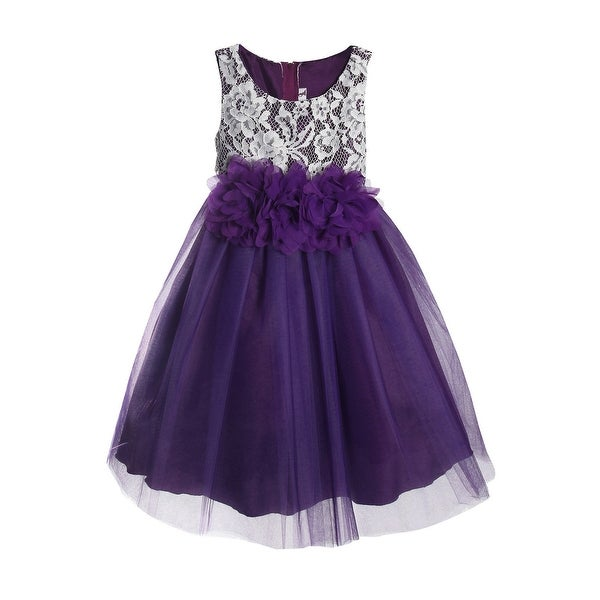 744e507dd Shop Kids Dream Little Girls Purple Floral Lace Illusion Tulle Flower Girl  Dress - Free Shipping Today - - 23083225