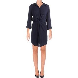 Aqua Womens Wear to Work Dress Knot-Front Button Down