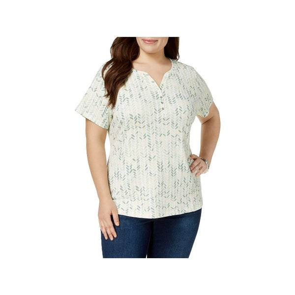 630a937a Shop Karen Scott Womens Plus T-Shirt Printed Henley - Free Shipping On  Orders Over $45 - Overstock - 27815435