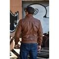 Mens Bomber Leather Fashion Jacket Brown FJ3 - Thumbnail 3