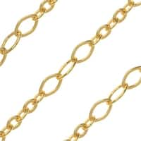 Gold Plated Bulk Chain, Oval Long and Short Links 4.5-8mm, Sold By The Foot