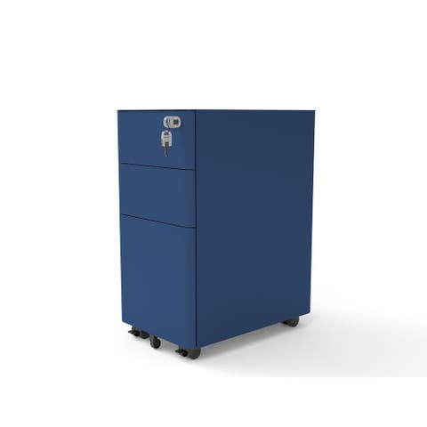 Furniture of America Dan Matte Lockable 3-Drawer Mobile File Cabinet