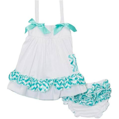Wenchoice Baby Girls White Green Chevron Bow Ruffles Swing Top Set