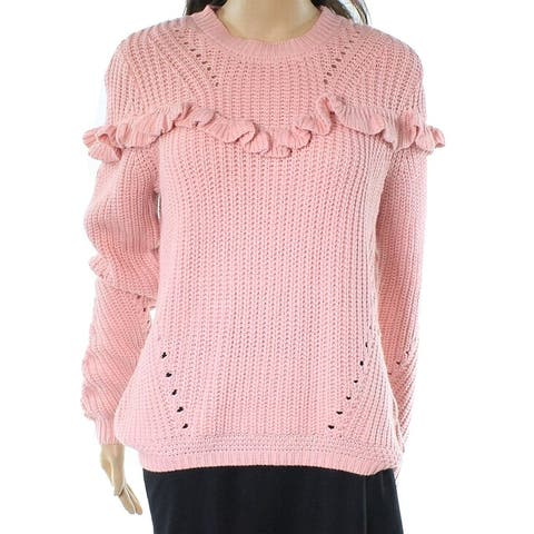 Cotton Emporium Ruffled Knit Women's Small Crewneck Sweater