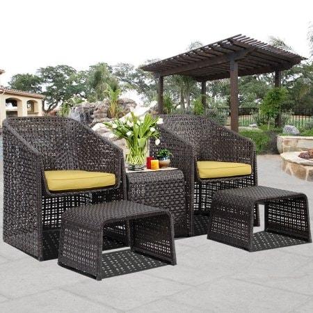 Costway 5 Piece Rattan Furniture Set With Footstools Suit Garden  Conservatory