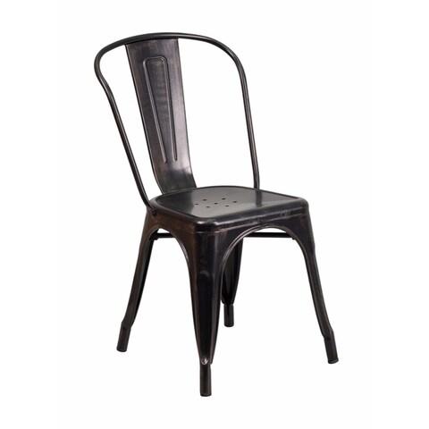 Offex Black-Antique Gold Metal Indoor-Outdoor Stackable Chair [OF-CH-31230-BQ-GG]