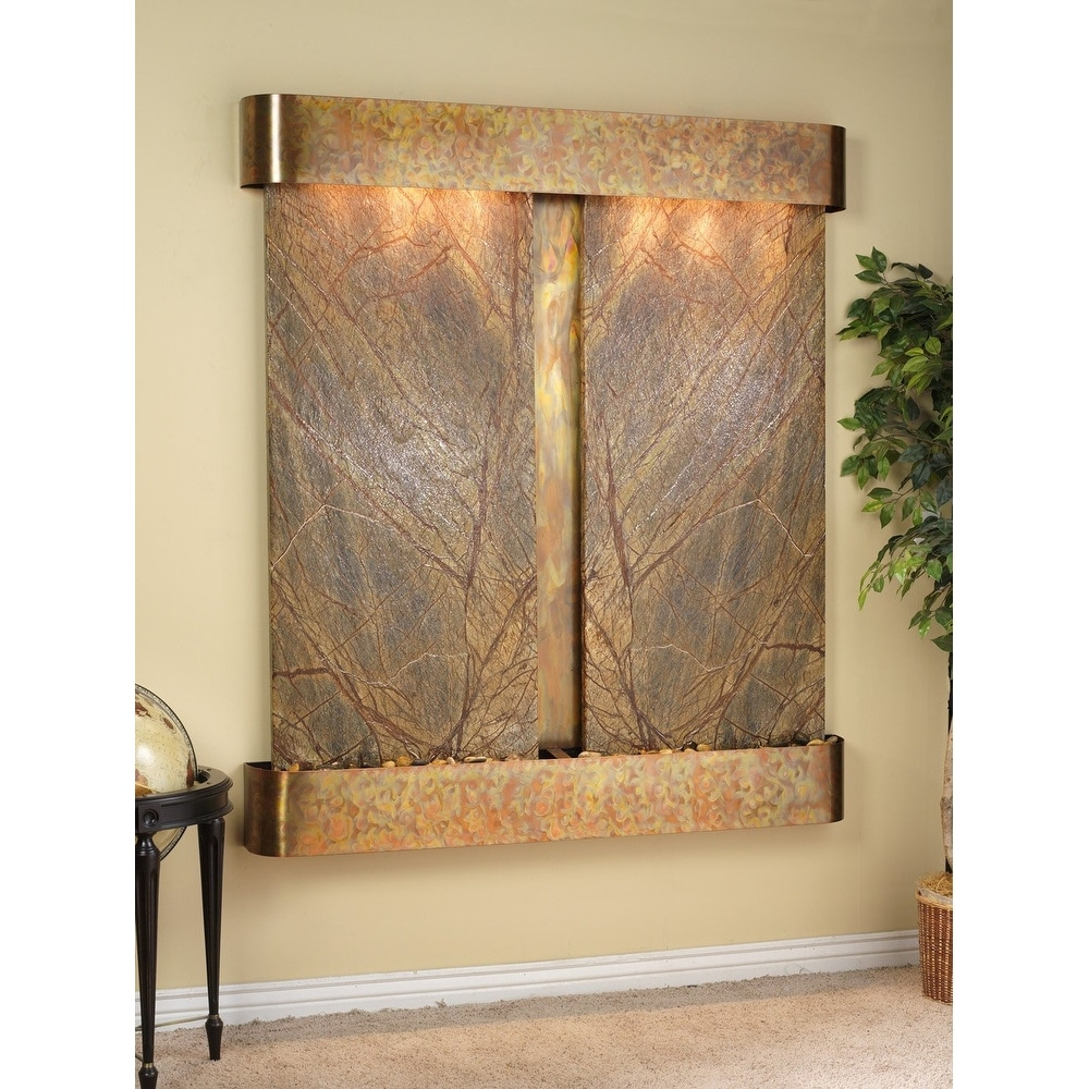 Adagio Cottonwood Falls Fountain w/ Brown Rainforest Marble in Rustic Copper Fin - Thumbnail 0
