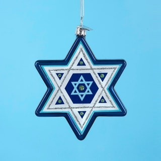 "4"" Noble Gems Blue and White Glass Star of David Hanukkah Holiday Ornament"