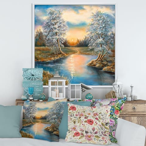 Designart 'Birches In The Autumn Woods' Lake House Framed Canvas Wall Art Print