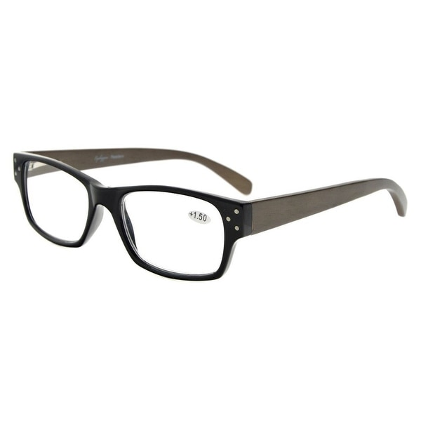 e380385cfd2 Eyekepper Spring Hinges Wood Arms Reading Glasses Men Women Black +2.5