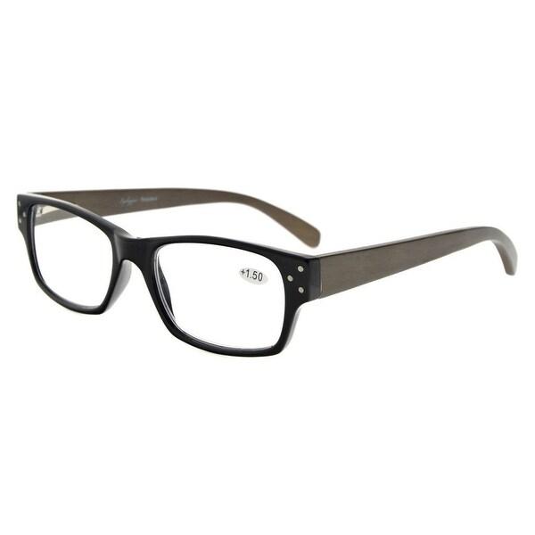 f2168ace06f5 Eyekepper Spring Hinges Wood Arms Reading Glasses Men Women Black +3.5