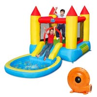 Gymax Inflatable Bounce House Kids Slide Jumping Castle Bouncer w/Pool and 580W Blower - as pic