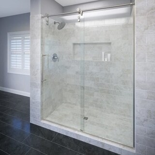 "Basco ROLA-935-59XP Rolaire 76"" High x 59"" Wide Single Sliding Frameless Shower Door with AquaGlideXP Clear Glass"