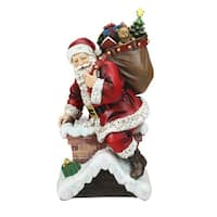 "11"" Santa Going Down The Chimney Christmas Table Top Figurine - Red"