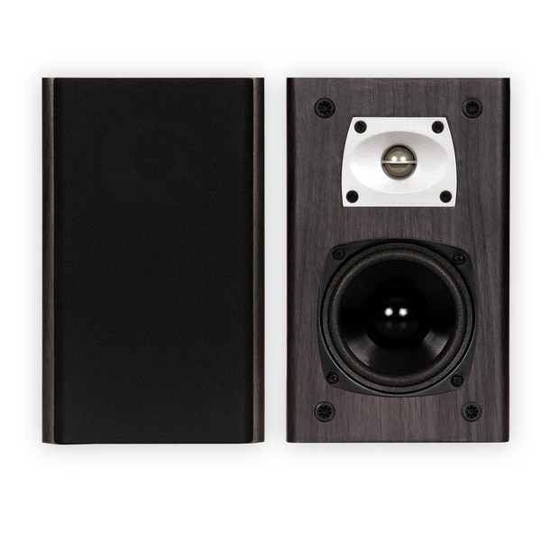 Theater Solutions B1 Black Bookshelf Speakers Surround Home Theater Speaker Pair