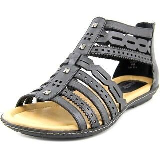 Earth Bay Women Open Toe Leather Black Gladiator Sandal