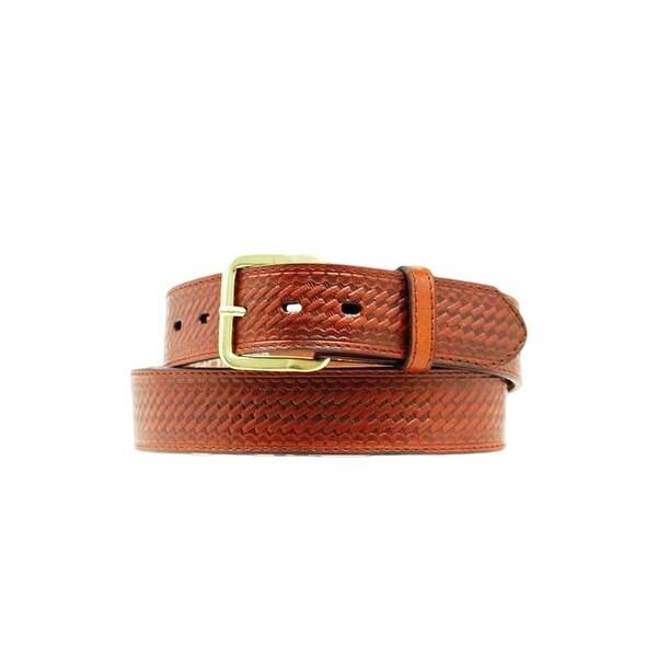 Nocona Western Belt Mens Basket Weave Leather Brown