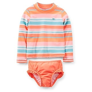 Carter's Baby Girls' Rash Guard Bathing Suit Set (12 Months, Striped)