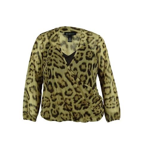 INC Women's Animal Print Long Sleeve Blouse - fancy leopard
