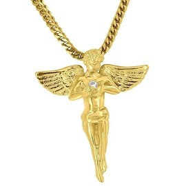 Angel Necklace Pendant Holding Solitaire 18K Gold Tone Free 24 Inch Stainless Steel Necklace