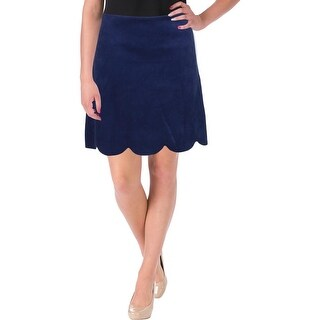 Aqua Womens Pencil Skirt Faux Suede Scalloped