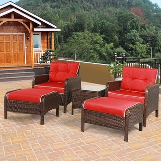 Costway 5 PCS Patio Rattan Wicker Furniture Set Sofa Ottoman W/Red Cushion Garden Yard