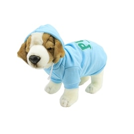 """Baby Blue and Green Cotton """"Property of Pup"""" Dog Hooded Sweatshirt - Small"""