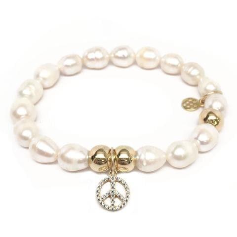 Julieta Jewelry Peace Sign Charm Pearl Bracelet