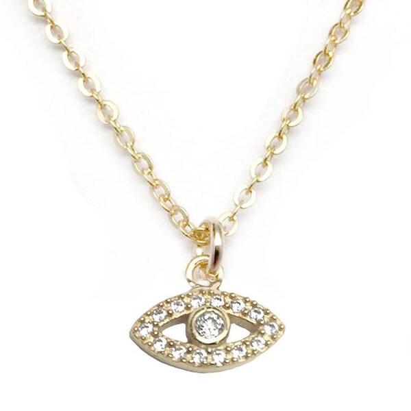 """Julieta Jewelry CZ Lucky Eye Gold Charm 16"""" Necklace"""
