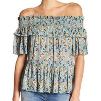 William Rast Green Women's Size Medium M Off-Shoulder Floral Blouse