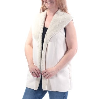 Womens Ivory Sleeveless Open Casual Vest Sweater Size M