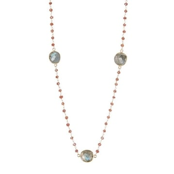 Gold Vermeil Peach Moonstone & Labradorite Station Necklace
