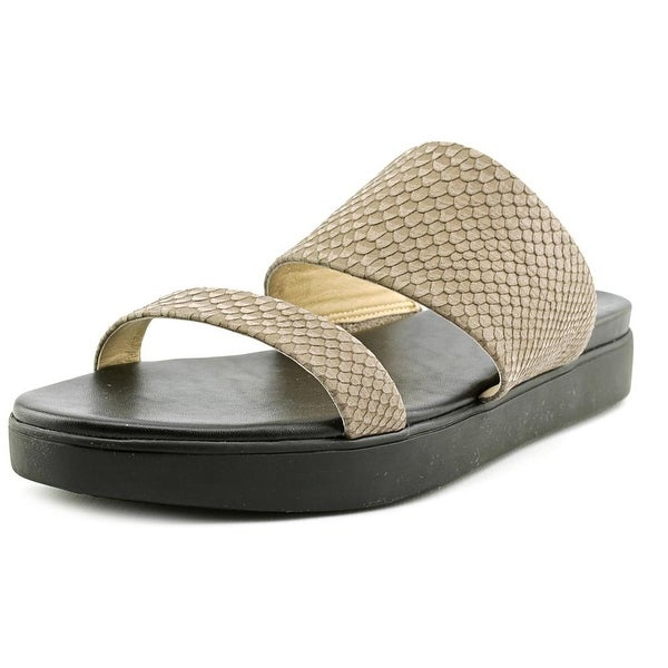 Via Spiga Carita Women  Open Toe Leather Gray Slides Sandal
