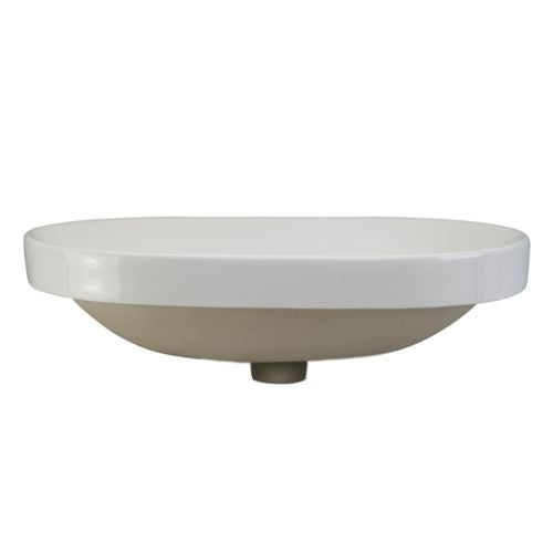 """DecoLav 1456 Classically Redefined 23-3/8"""" Oval Semi Recessed Vitreous China Lavatory Sink with Overflow"""