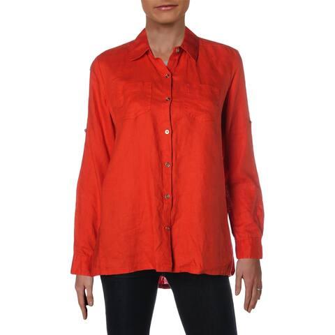 Donna Karan Womens Button-Down Top Linen Cuff Sleeves - XXS