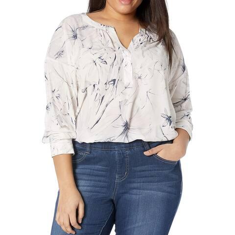 Lysse Womens Reed Blouse White Pink Blue Size 1X Plus Floral Split-Neck