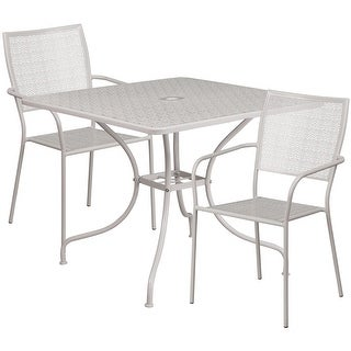 Westbury Square 35.5'' Light Gray Steel Table Set w/2 Square Back Chairs for Restaurant/Bar/Pub/Patio