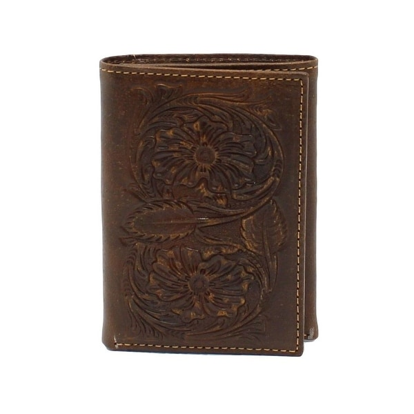 Ariat Western Wallet Mens Trifold Floral Embossed Brown - One size