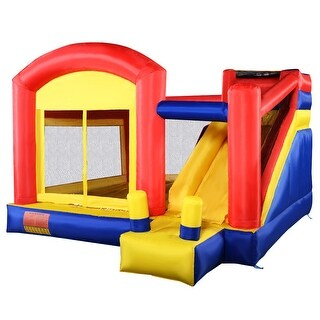 Costway New Super Slide Inflatable Bounce House Castle Moonwalk Jumper Bouncer Without Blower - Yellow