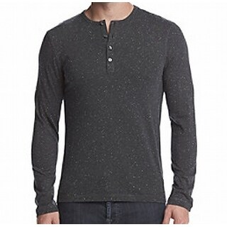 Michael Kors Gray Mens Size XL Henley Speckled Long-Sleeve Shirt