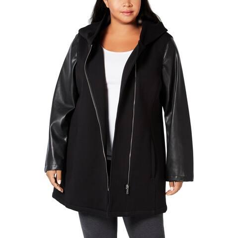 Calvin Klein Womens Plus Midi Coat Faux Leather Trim Hooded - Black