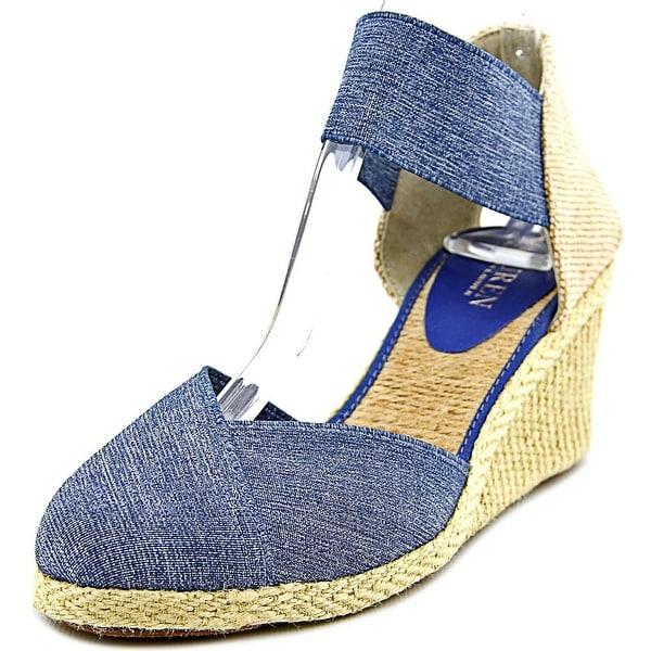 Lauren Ralph Lauren Charla Women  Open Toe Canvas Blue Wedge Heel