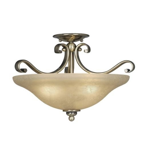 Vaxcel Lighting CF35417 Monrovia 3 Light Semi-Flush Indoor Ceiling Fixture with Frosted Glass Shade - 17 Inches Wide