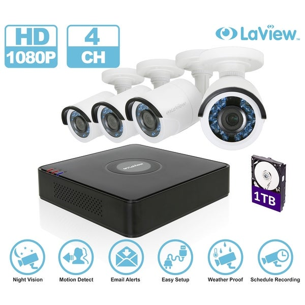 LaView LV-KT934HS4A5-T1 4-channel 1080P Full HD-Analog 1TB HDD Surveillance DVR with (4) 1080p Bullet Cameras