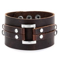 Men's Brown Leather Wide Center Link Buckle Bracelet with Adjustable Snap Closure (44.5 mm) - 7.5 in