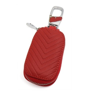 Red Two Sides Veins Faux Leather Keys Coins Pocket Money Holder Wallet for Car
