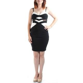 Womens Black, White Spaghetti Strap Above The Knee Body Con Party Dress Size: 3